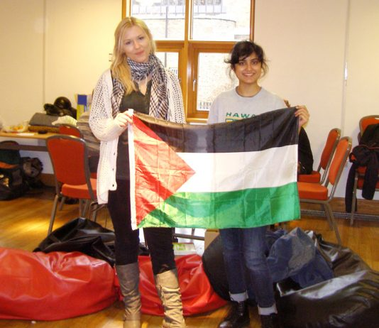 Two of the students occupying SOAS yesterday in solidarity with Palestinians in Gaza