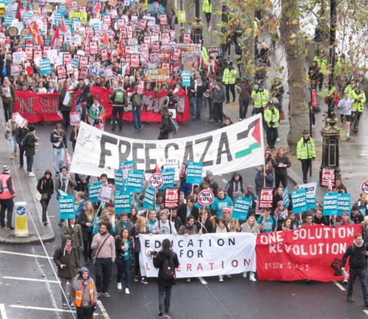 The front banners set the tone for the demonstration – solidarity with the Palestinians and Revolution is the Solution!