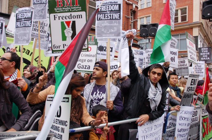 Demonstrators outside the Israeli embassy were confident that the Palestinan masses would stand fast and force the arrogant Israeli aggressors back