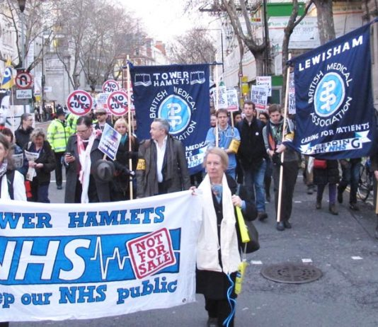The BMA demonstrating in March to try and stop the Health and Social Care Bill from becoming law