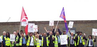 Unite bus workers taking action at the Lea Valley interchange