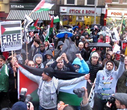 10,000 marched to the Israeli embassy in London on November 24 this year showing their support for a Palestinian state