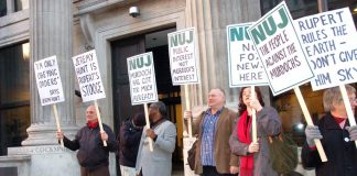 NUJ protest against Murdoch's bid for BSkyB outside the Department of Culture, Media and Sport in March 2011