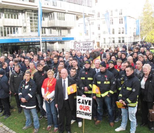 Firefighters rallied last month to set out their campaign against station closures and downgrades