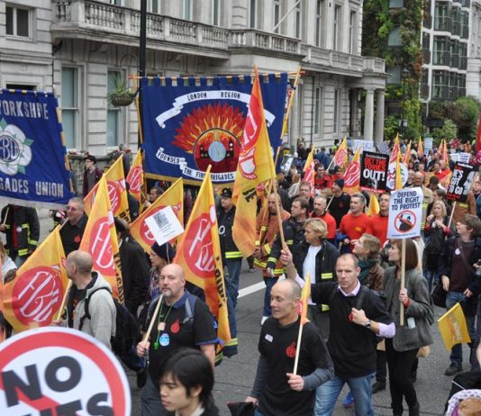 Firefighters on the October 20 TUC march against cuts – more cuts are expected to be announced today