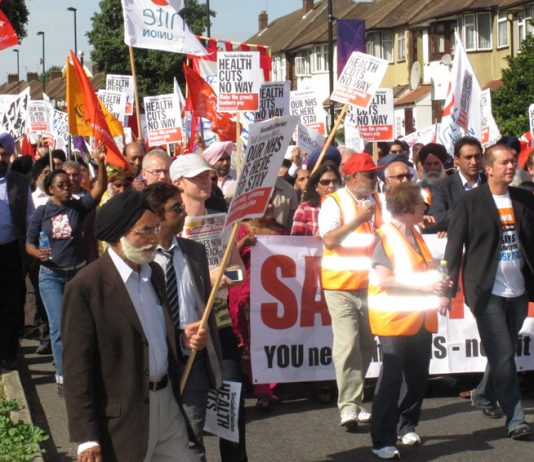 A section of the 10,000-strong  march in Ealing on September 15 to stop the closure of Ealing Hospital