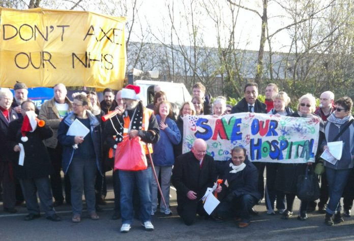 All over the country actions are being taken to stop the NHS from being shut down.  Picture shows demonstrators last Saturday in West London at the beginning of a convoy throughout the area against the closure of Ealing, Central Middlesex, Hammersmith and