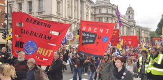 Teachers marching against Tory attacks on education