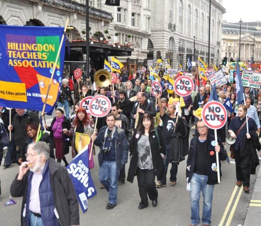 Teachers marching in London on the October 20 TUC demonstration against the Coalition's austerity cuts