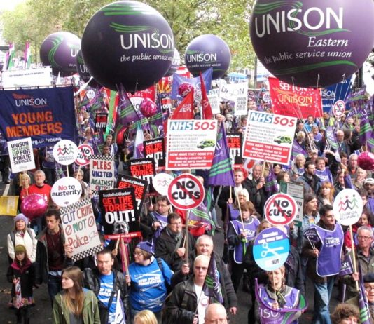 A section of the huge TUC march on October 20 through London against the Coalition's attacks