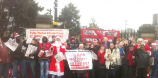 A strong and cheerful mass picket at Chase Farm Hospital on Christmas Eve morning – more than ready to occupy the hospital in the event of closure
