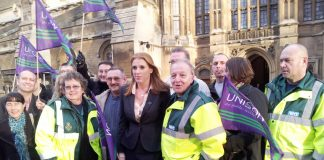 Manchester Ambulance workers lobbied parliament on December 10th against plans to privatise their service