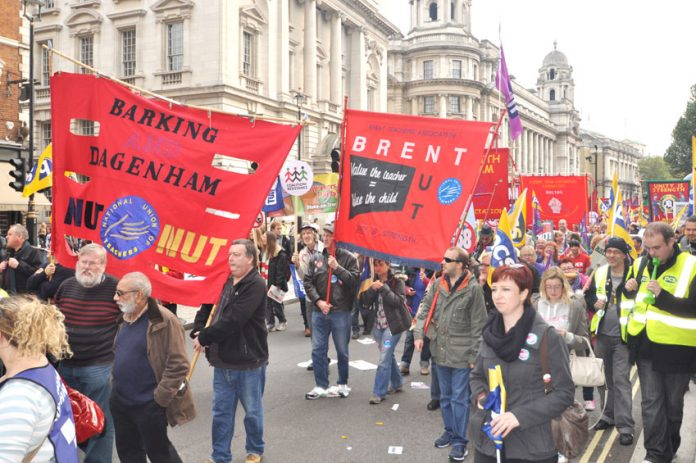 Teachers banners on the TUC march on October 20 against the Coalition's austerity measures