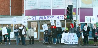 Demonstration outside the Norwich offices of ATOS demanding the scrapping of the Work Capability Assessments