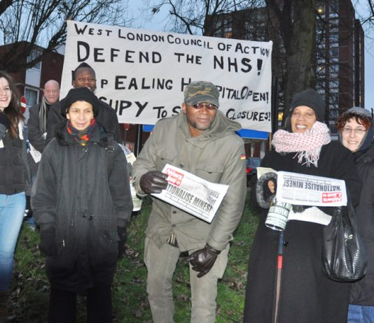 West London Council of Action picket of Ealing Hospital early yesterday morning – they are determined to keep it open and defeat the policies of the Coalition