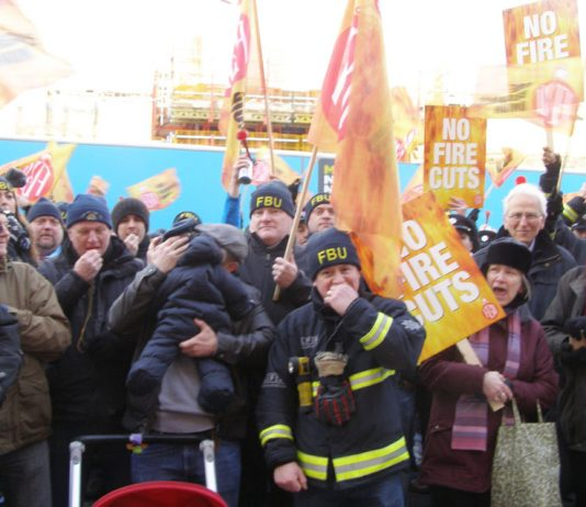 500 angry firefighters lobbied against fire station closures outside the Fire Brigade headquarters in Southwark yesterday