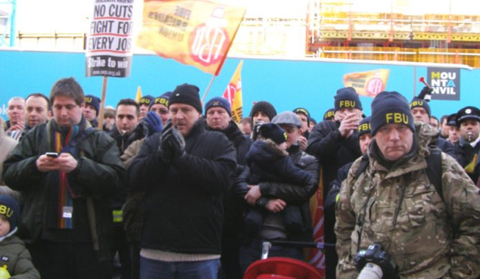 A section of Monday's lobby of the London Fire Authority when it voted against the cuts and closures