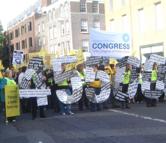 Irish workers on a ICTU demonstration show the high unemployment because of the  EU -IMF-ECB imposed cuts that are being carried out by the government