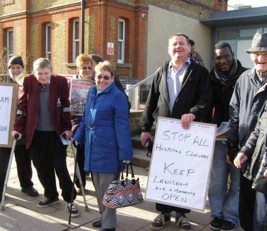 The Wednesday picket outside Lewisham Hospital yesterday midday – determined to keep it open