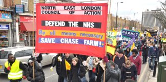 The front of Saturday's 1,000-strong North East London Council of Action demonstration in Enfield against the closure of Chase Farm Hospital