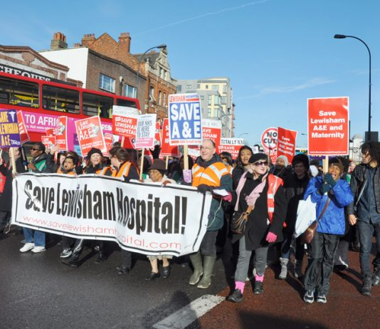 Huge demonstrations have accompanied the closure threat to Lewisham Hospital in south London; pictured: January 26th
