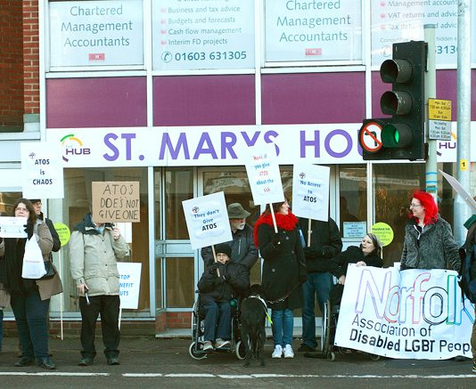 Demonstrators in Norwich demand Work Capability Assessments are ended and that the privateer ATOS company is sacked