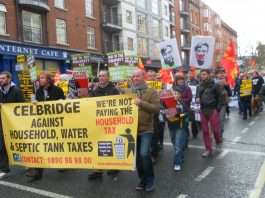 A section of the 100,000-strong demonstration in Dublin called by the Irish Congress of Trade Unions
