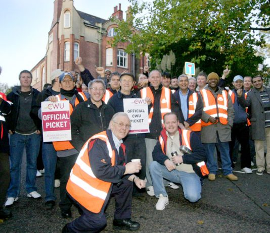 Pickets at the Hampstead Delivery Office during the last national strike in October 2010