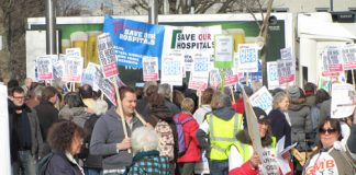A section of Saturday's rally in Hammersmith against the closure of Charing Cross and Hammersmith Hospital's A&Es Photo credit: BETA LUCIANO