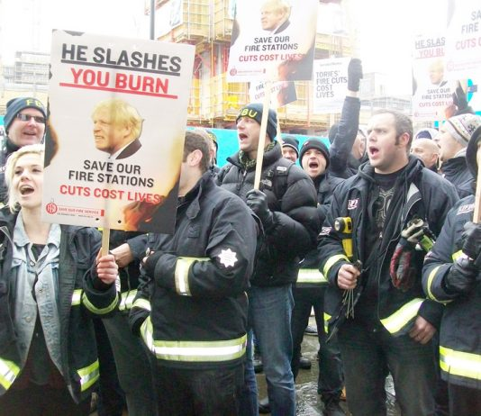 London FBU lobby against slashing jobs and closing fire stations