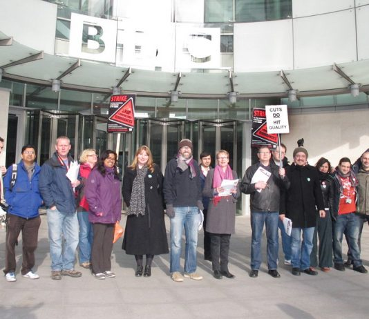NUJ General Secretary MICHELLE STANISTREET (6th from left) on the picket line at Broadcasting House, central London, yesterday told News Line 'It's a brilliant, solid turnout'