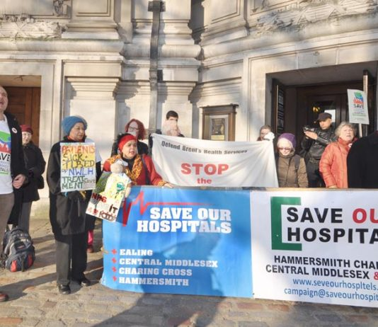 Tuesday morning outside Westminster Central Hall demonstrators urged the PCT meeting 'don't close our hospitals' – the PCT board however agreed to do the dirty work for the Tories