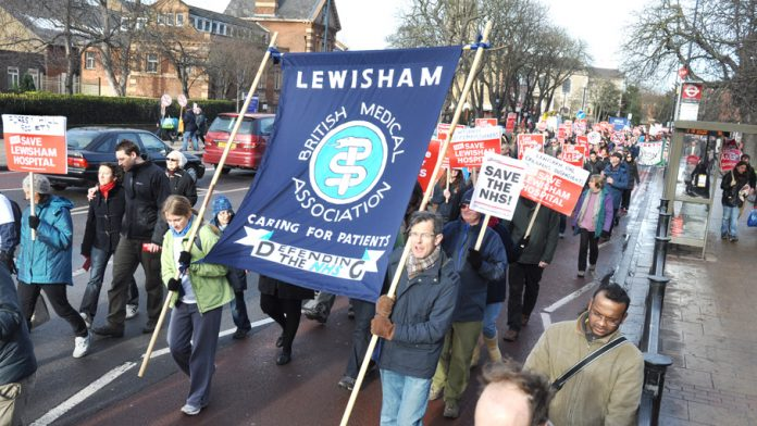 Lewisham BMA on the last big march on January 26 against the plans to close the hospital – their contracts are now under attack by the government