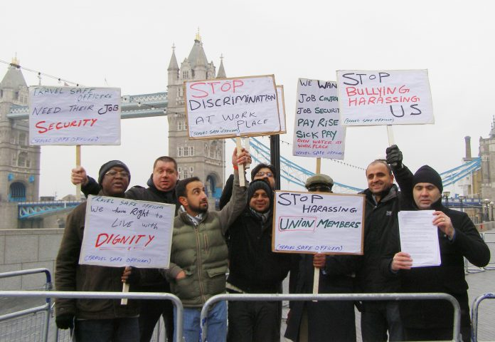 Travel Safe workers lobbied City Hall yesterday against their treatment by STM Security Group UK