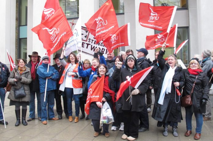 Unite representatives and supporters lobbied Agenda for Change talks at the Unison head office yesterday lunchtime