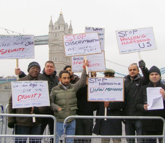 RMT security workers lobbied the Mayor of London against the bullying of its members on Monday