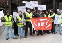 Travel Safe strikers lobbying Transport for London head office yesterday