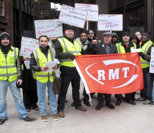 Travel Safe strikers lobbying Transport for London head office yesterday