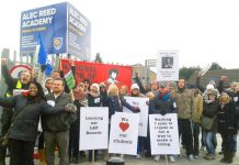 A strong picket line of NUT and NASUWT members and parents outside the Alec Reed Academy in Northolt yesterday morning