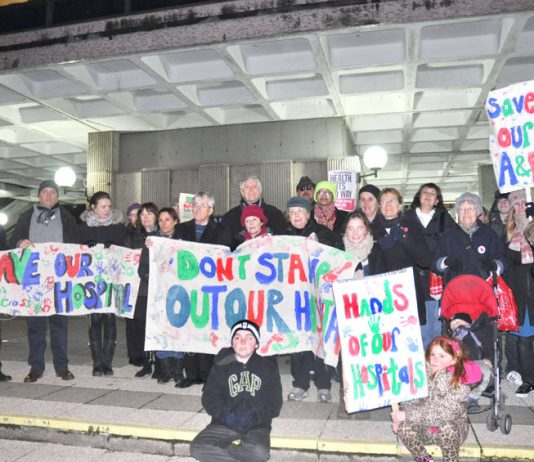 Campaigners fighting to stop the closure of Charing Cross and Hammersmith Hospitals at a lobby of the council last Wednesday