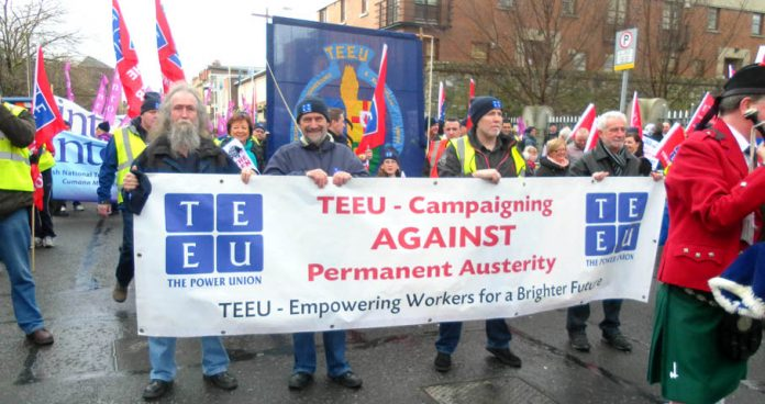 TEEU banner on the 100,000-strong march in Dublin on February 9th against paying for the crisis of the banks