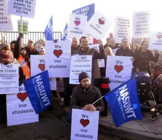Teachers on strike at Alec Reed Academy where standards have fallen since it became an academy