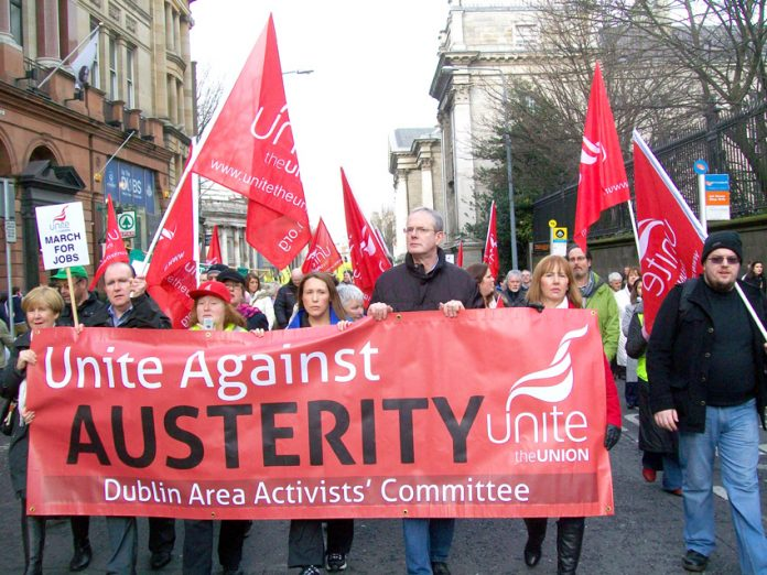 Unite banner on the 100,000-strong demonstration in Dublin on February 9th against the government's austerity