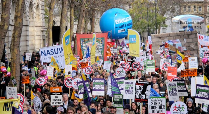 Teachers marching on the pensions strike in November 2011. This year the two largest teachers unions are to take joint strike action