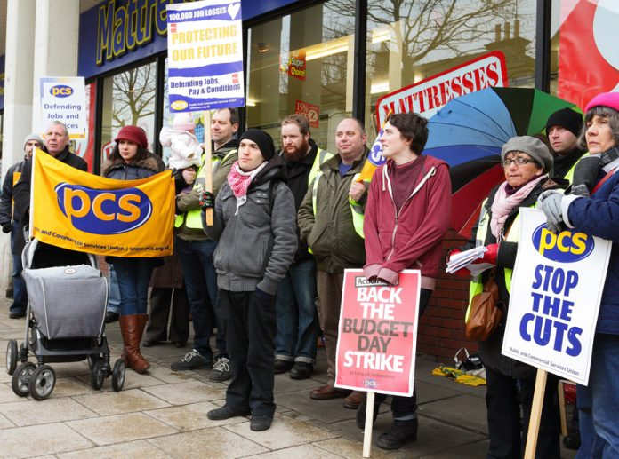 A strong picket line outside the HMRC Tax Office on Prince of Wales Road, Norwich
