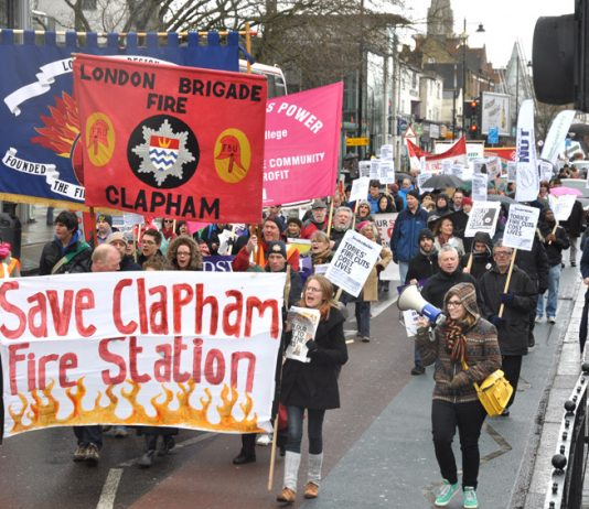 Firefighters and their supporters marching in Clapham last Saturday against the closure of the fire station