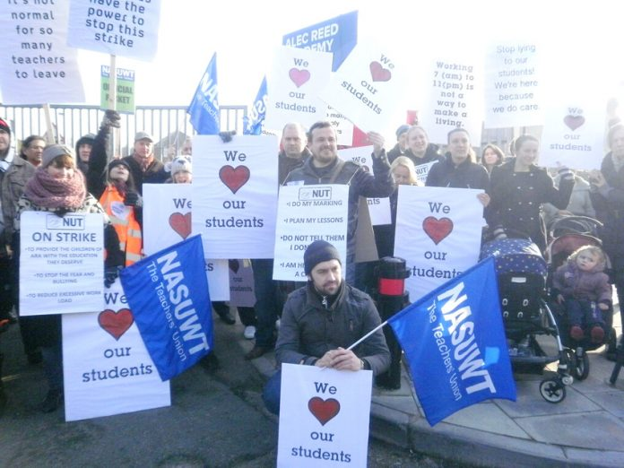 NUT and NASUWT on strike at the Alec Reed academy in Northolt