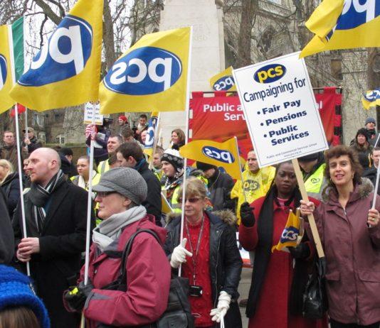 Striking PCS civil servants rally outside the House of Commons last Wednesday denouncing Osborne's Budget