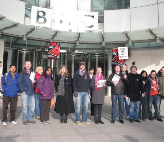 NUJ members on the picket line during their strike at the BBC in Great Portland Street last month