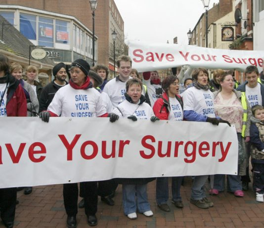 GPs in Rugby march against attacks on the NHS